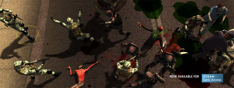 Low aerial shot of bloody melee.